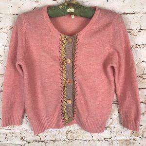 Free People Wool Pink Cardigan Lace Buttons Medium